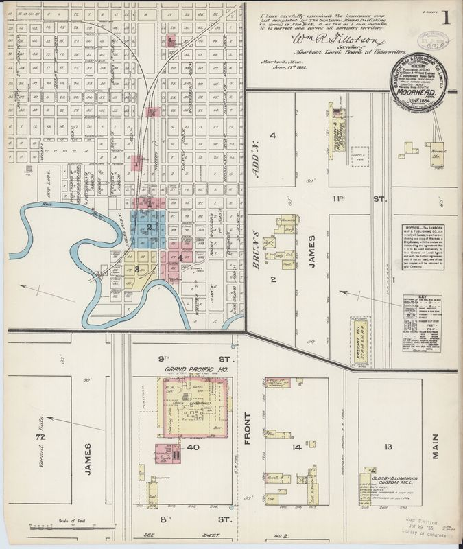 Page 1 of Moorhead 1884 Fire Insurance Map