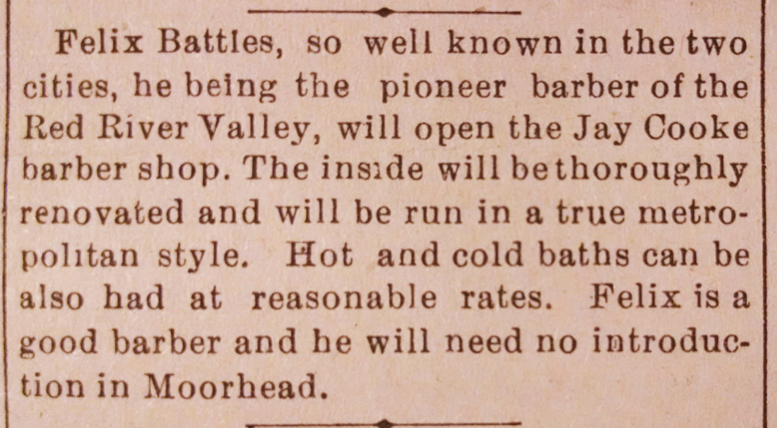 Image: an 1888 story from the Moorhead Daily News. The text reads as follows: