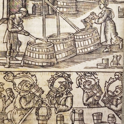 "Image: a detail of Olaus Magnus's woodcut, ""The Great Drinkers of the North,"" from his ""Histories of the Northern Peoples"" (printed in 1555)."