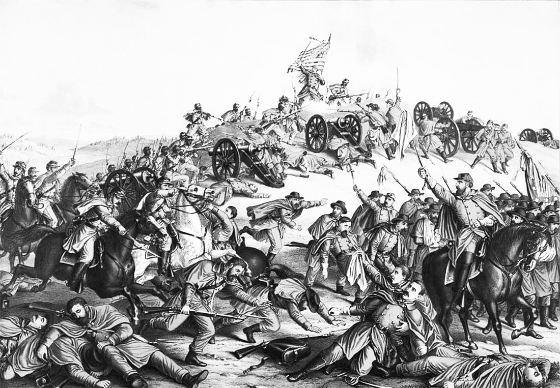 Image: an 1888 chromalithograph detailing the Battle of Nashville. Confederate soldiers are shown in various stages of death in the foreground. Union troops, including the USCT, overtake them from a hill.